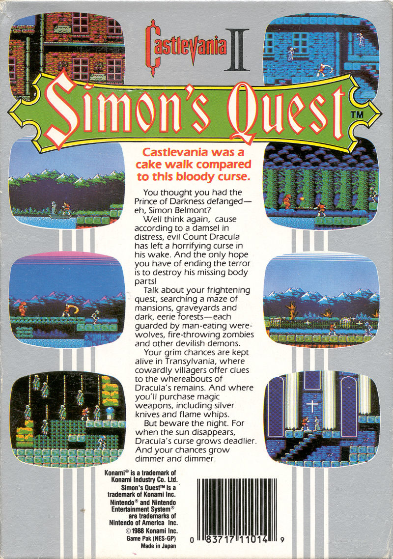 Castlevania II: Simon's Quest NES Back Cover