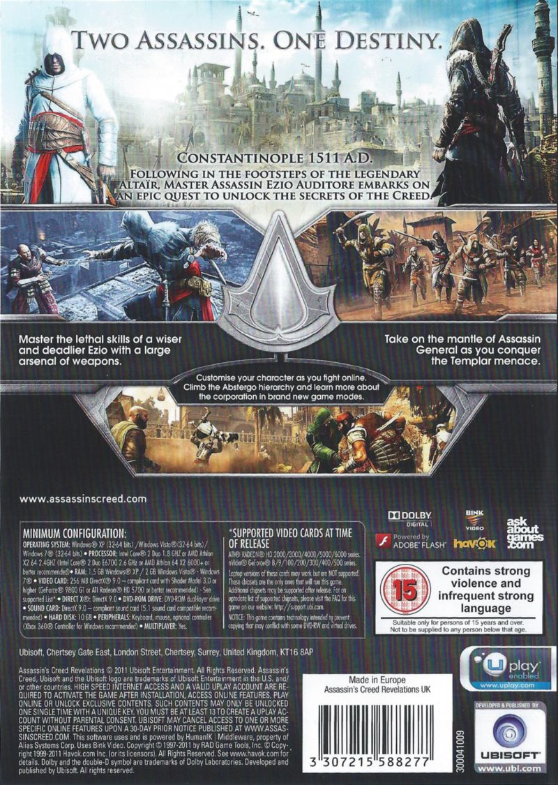 Assassin's Creed: Revelations Windows Back Cover