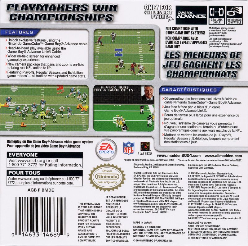 Madden NFL 2004 Game Boy Advance Back Cover