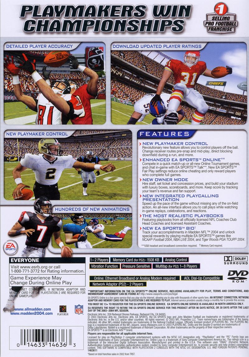 Madden NFL 2004 PlayStation 2 Back Cover