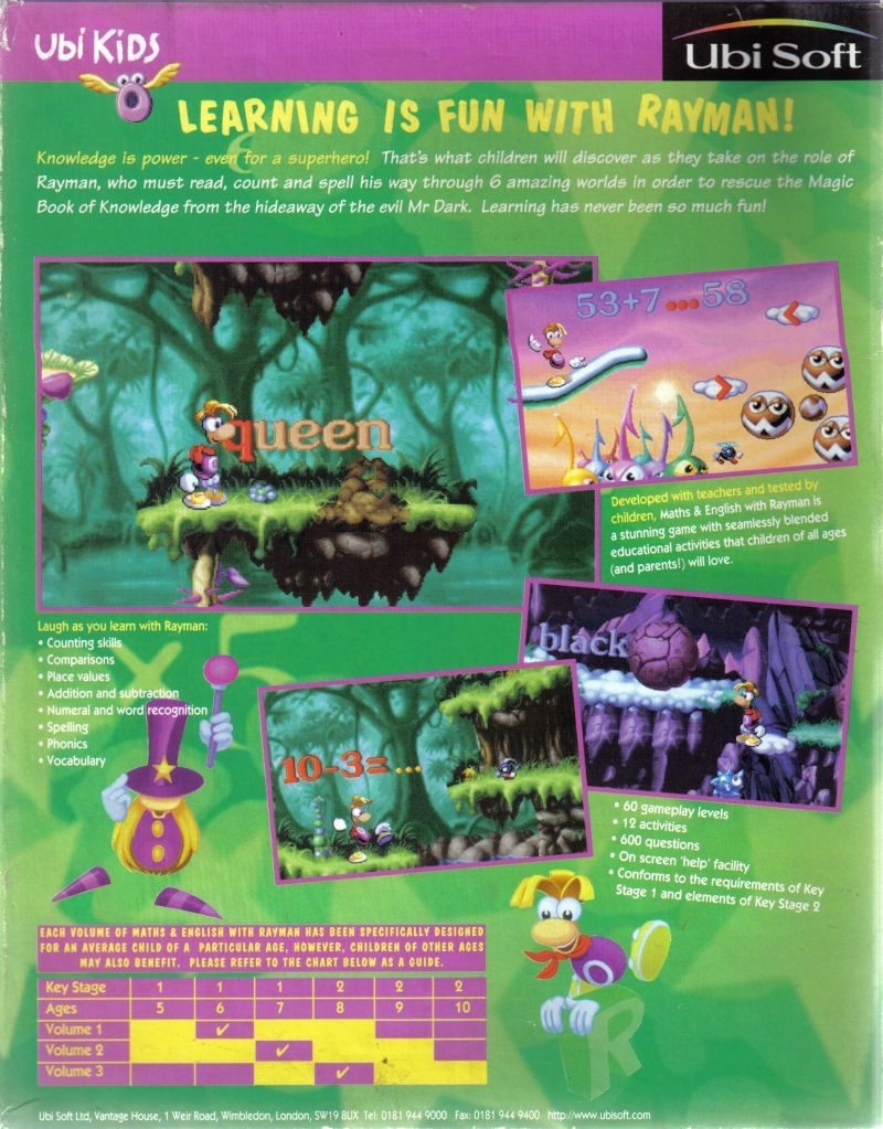 Maths and English with Rayman: Volume 2 DOS Back Cover
