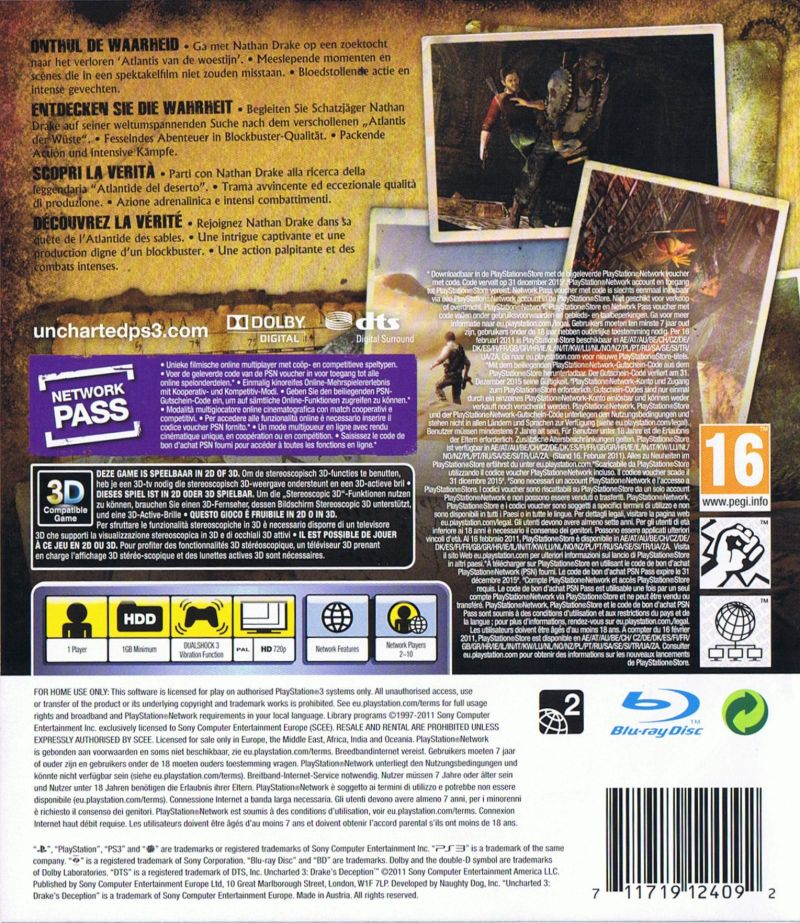 Uncharted 3 Drake S Deception 2011 Playstation 3 Box Cover Art