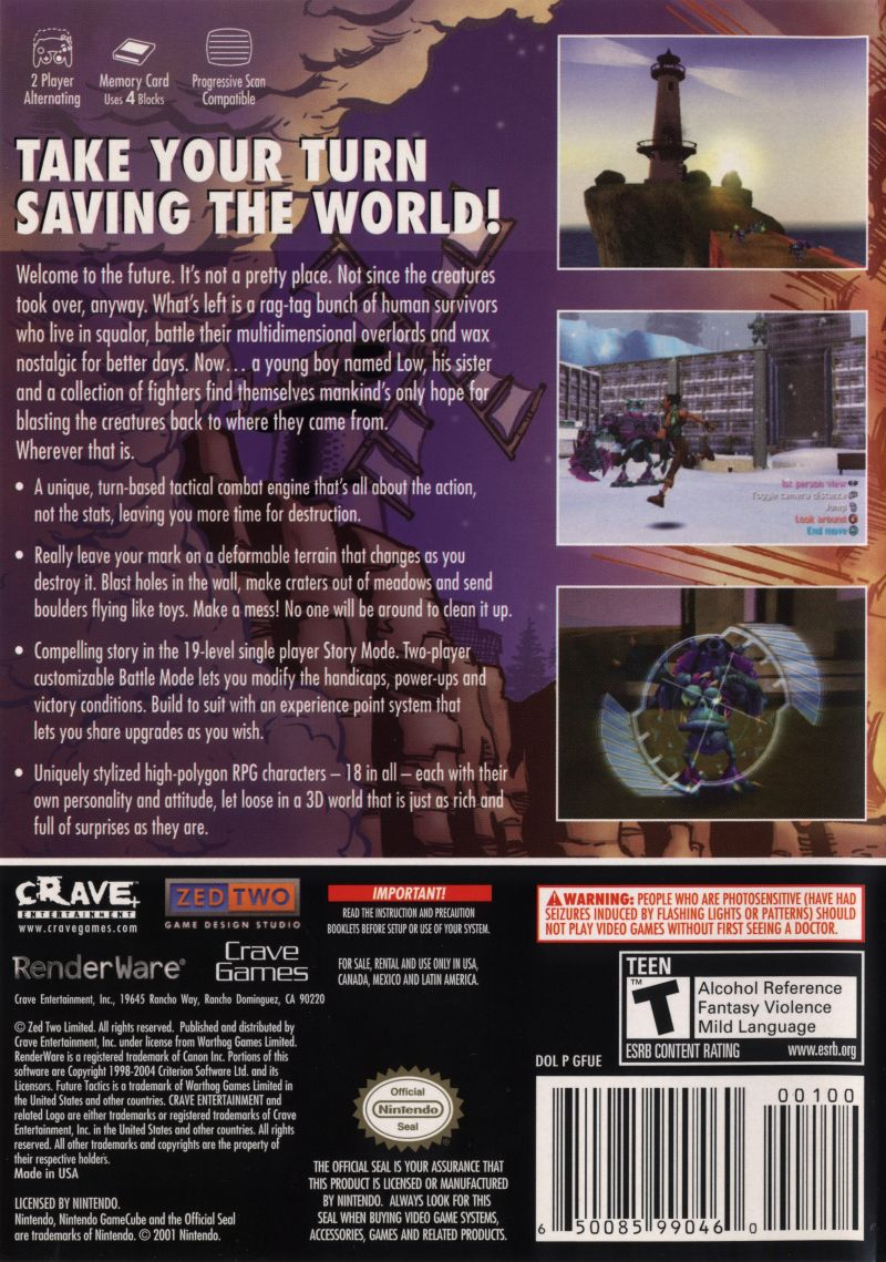 Future Tactics: The Uprising GameCube Back Cover