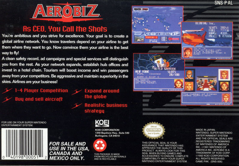 Aerobiz SNES Back Cover