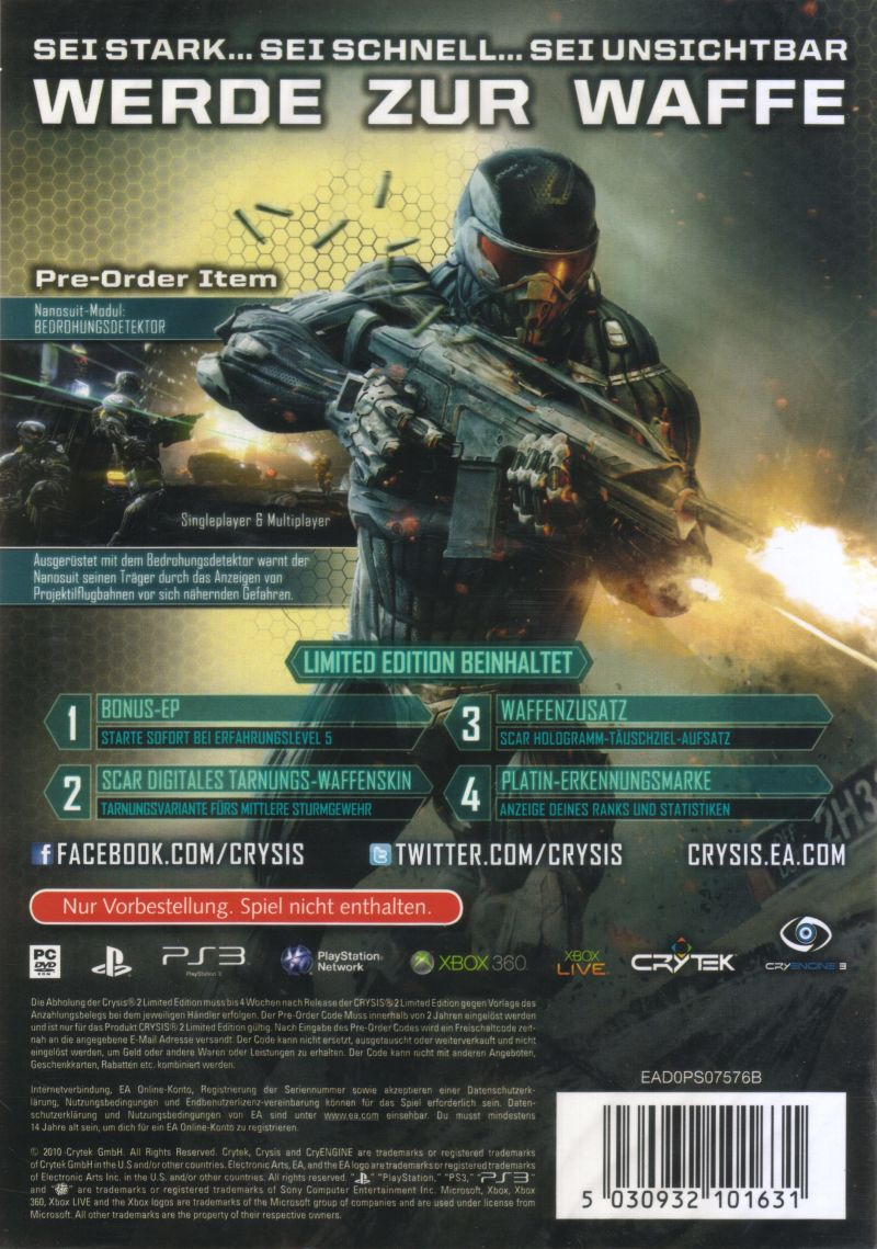 Crysis 2 (Limited Edition) PlayStation 3 Back Cover