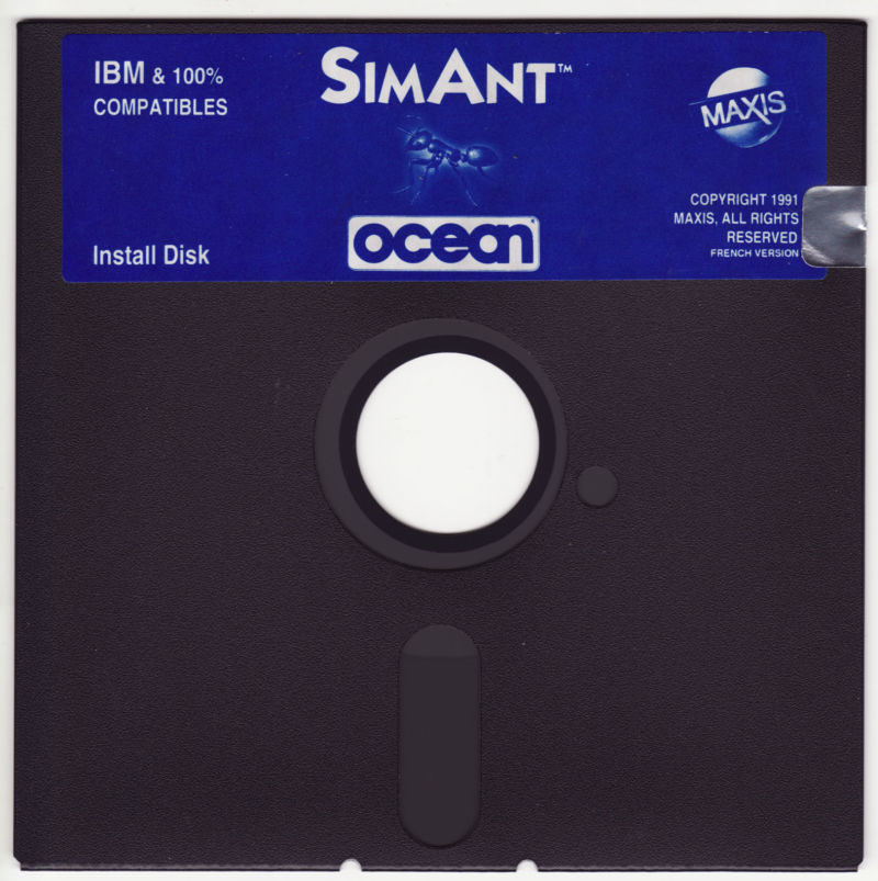 "SimAnt: The Electronic Ant Colony DOS Media 5.25"" disk 1/4"