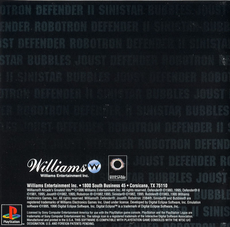 Williams Arcade Classics PlayStation Back Cover