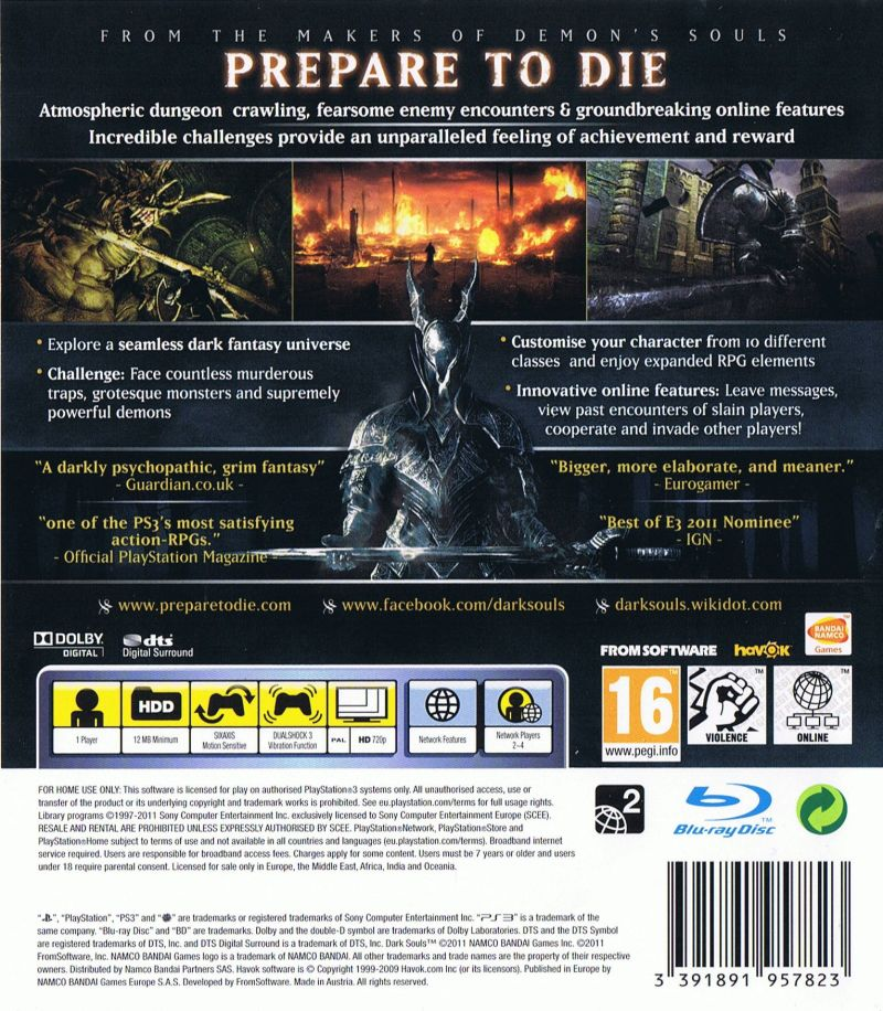 Dark Souls (Limited Edition) PlayStation 3 Other Keep Case - Back