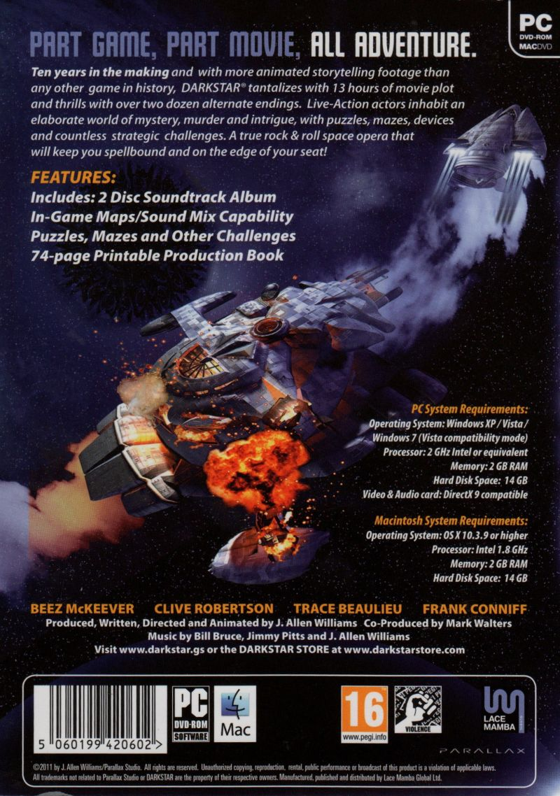 DARKSTAR: The Interactive Movie Macintosh Back Cover