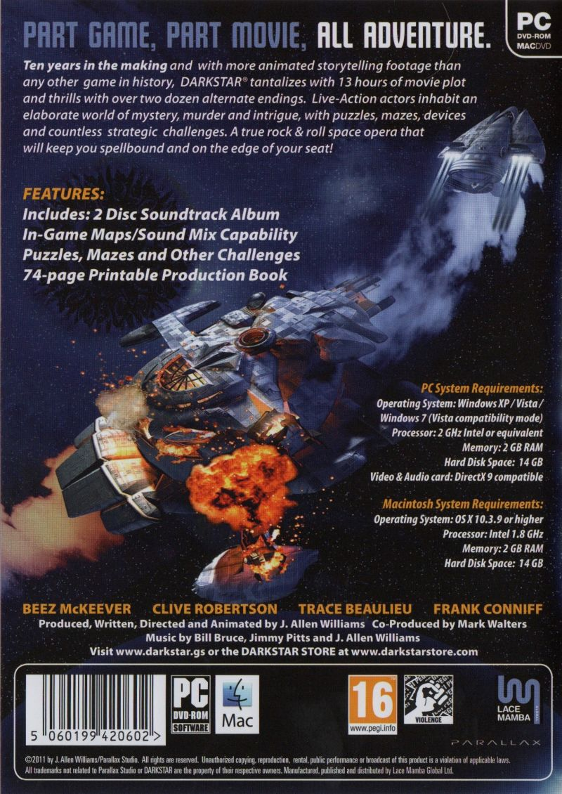 DARKSTAR: The Interactive Movie Macintosh Other Keep Case - Back
