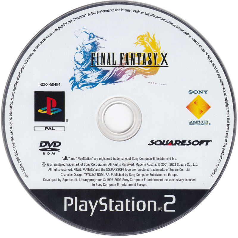Final Fantasy X PlayStation 2 Media Game disc