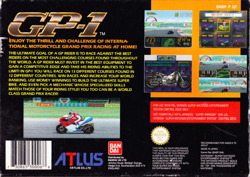 GP-1 SNES Back Cover