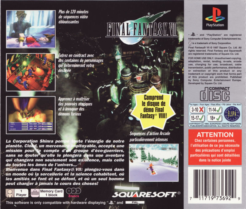 Final Fantasy Vii 1997 Playstation Box Cover Art Mobygames