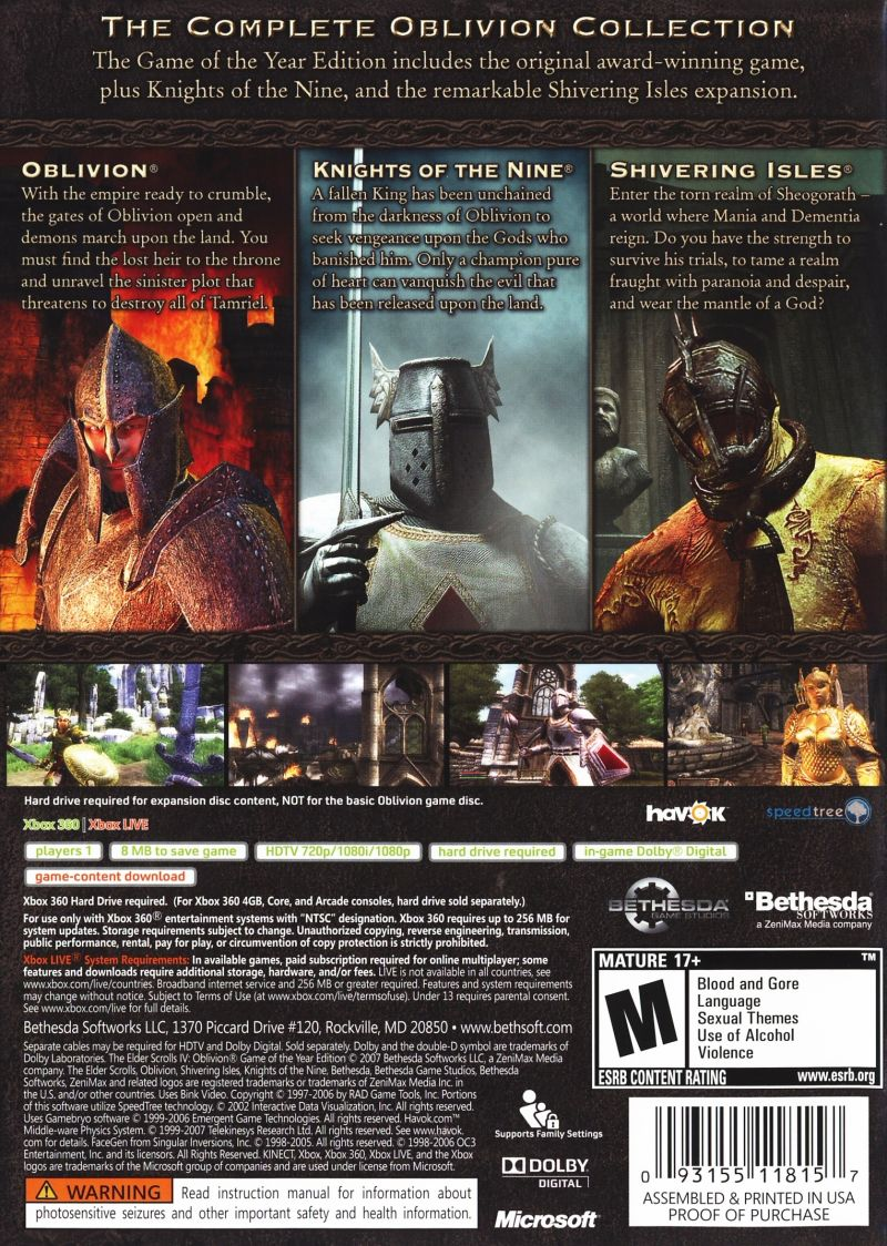 The Elder Scrolls IV: Oblivion (Game of the Year Edition) Xbox 360 Back