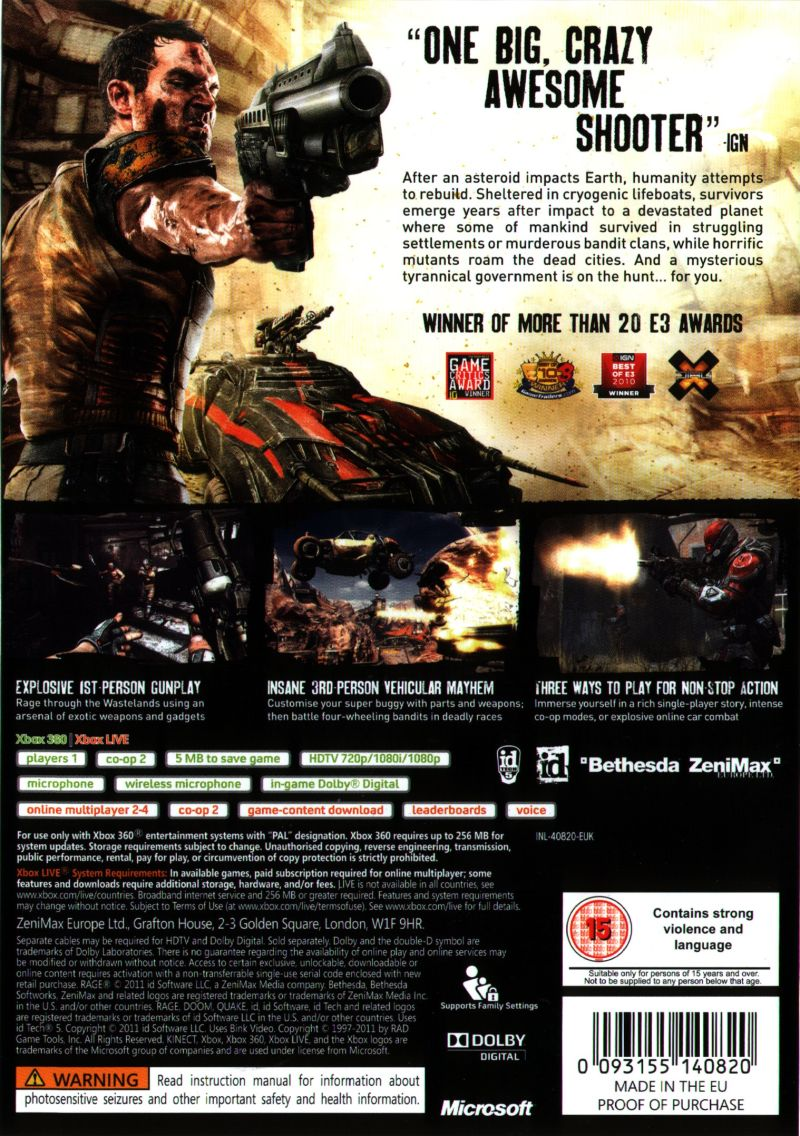 Xbox 360 Game Cover Back Rage (2011) Xbox 360 b...