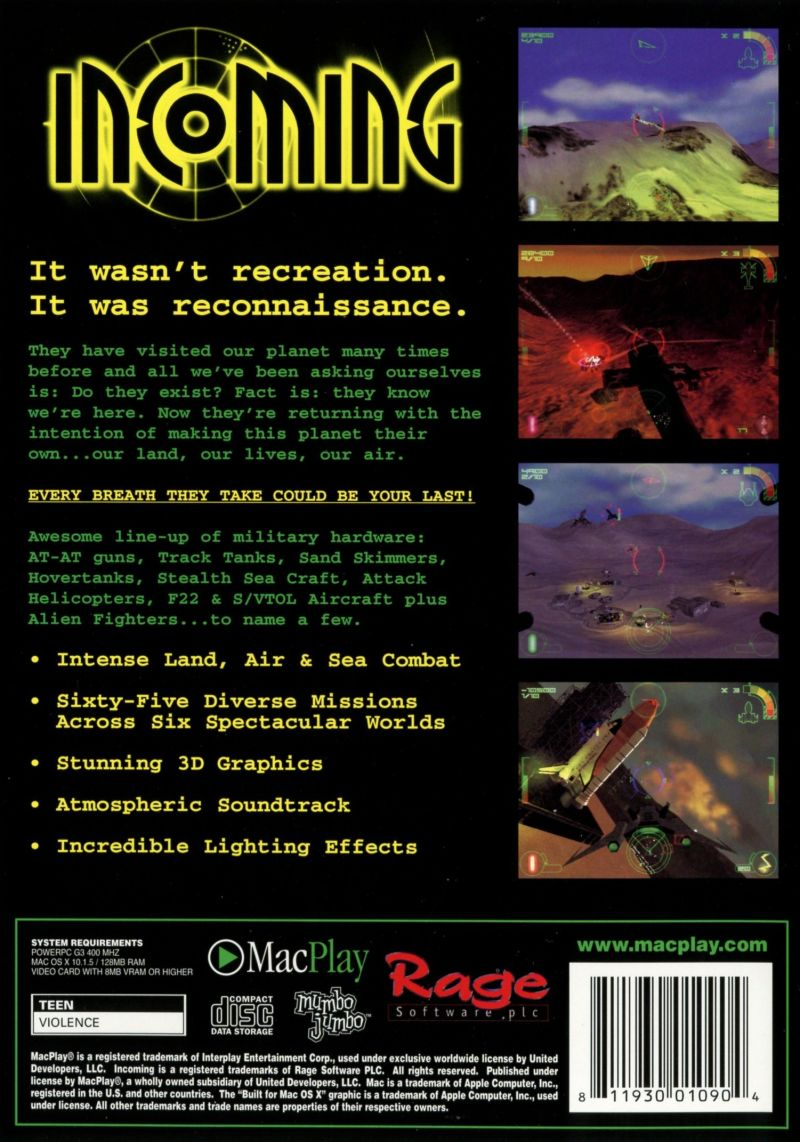 Incoming: The Final Conflict Macintosh Back Cover