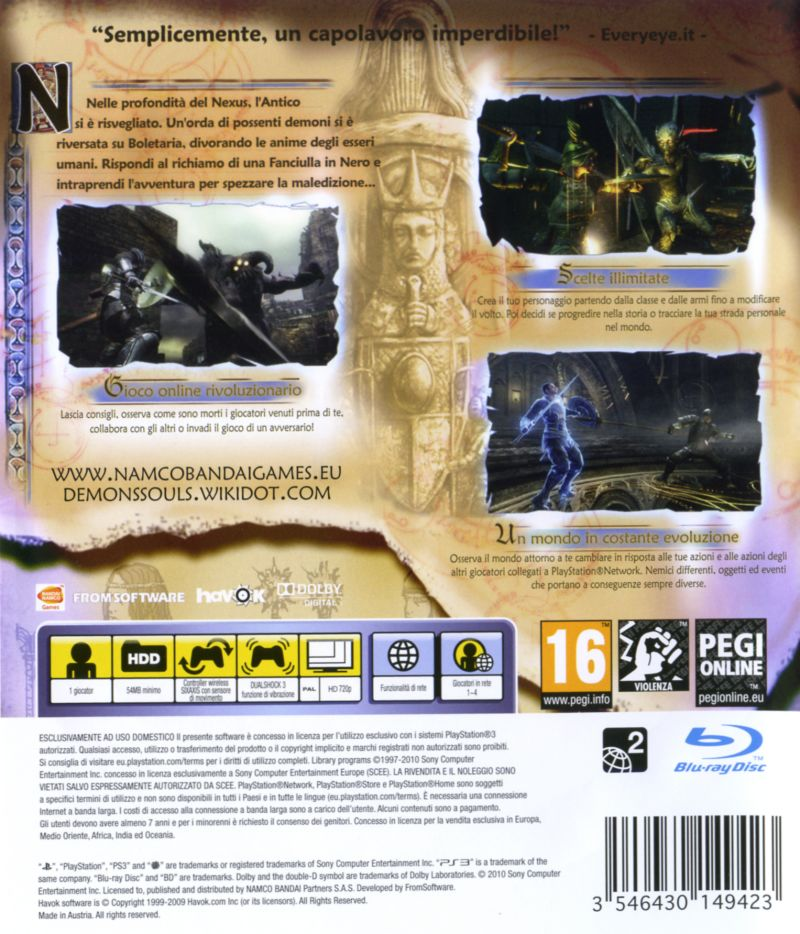 Demon's Souls PlayStation 3 Back Cover