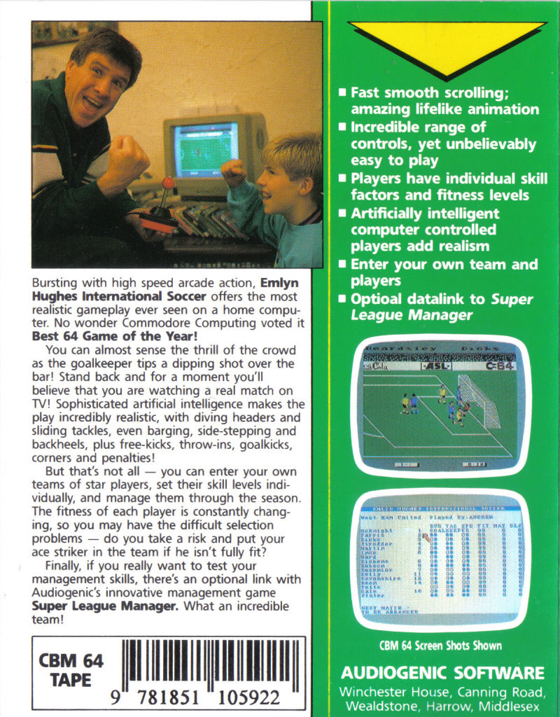 Emlyn Hughes International Soccer Commodore 64 Back Cover