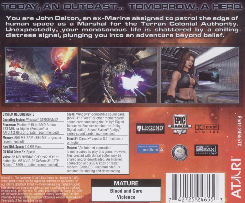 Unreal II: The Awakening Windows Other Jewel Case - Back