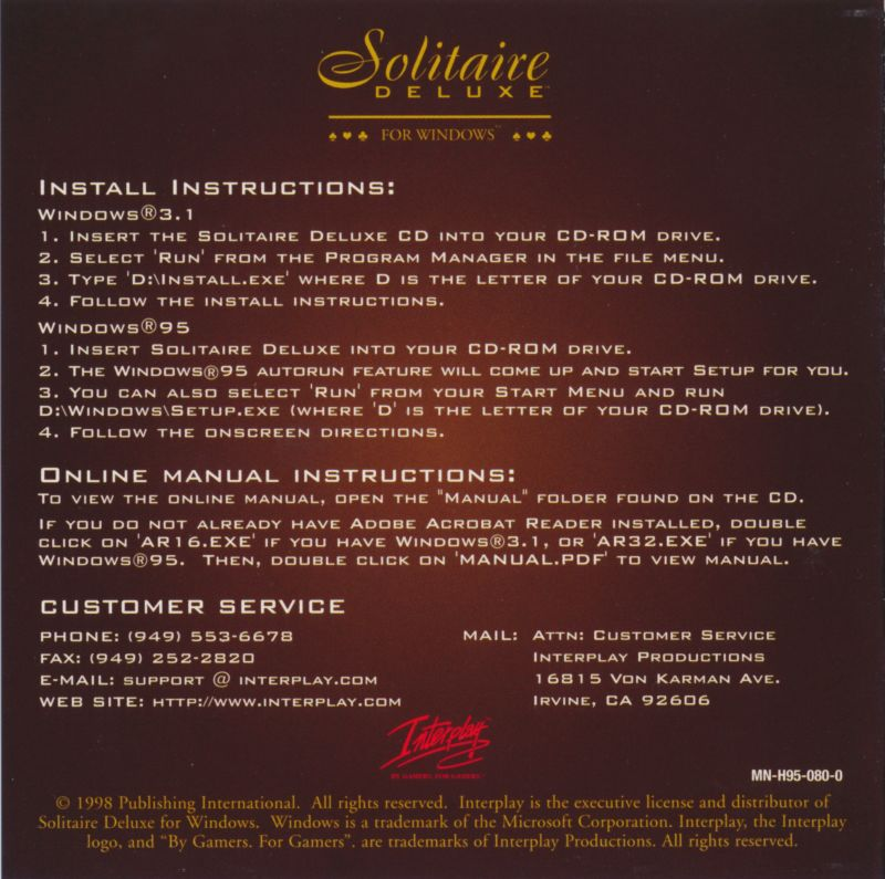 Solitaire Deluxe Windows 3.x Front Cover Inside