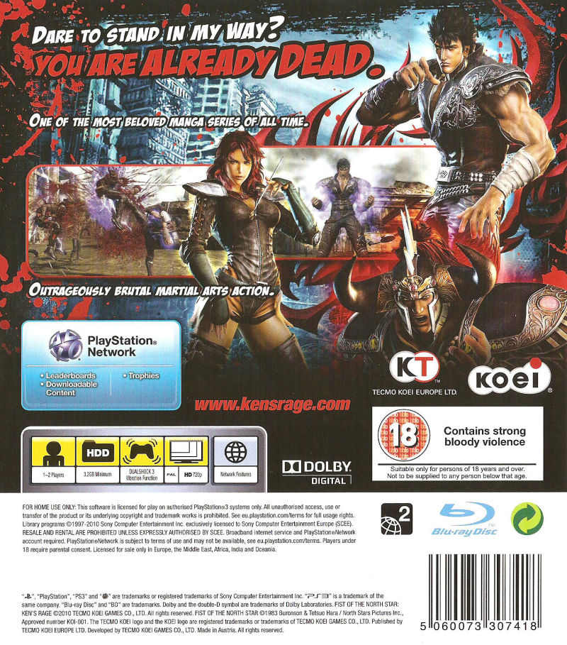 Fist Of The North Star: Ken's Rage (2010) PlayStation 3
