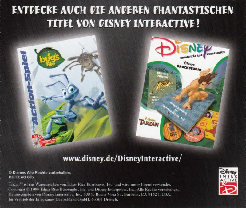 Disney's Tarzan Windows Other Jewel Case - Back