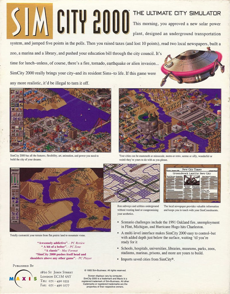 SimCity 2000 Acorn 32-bit Back Cover