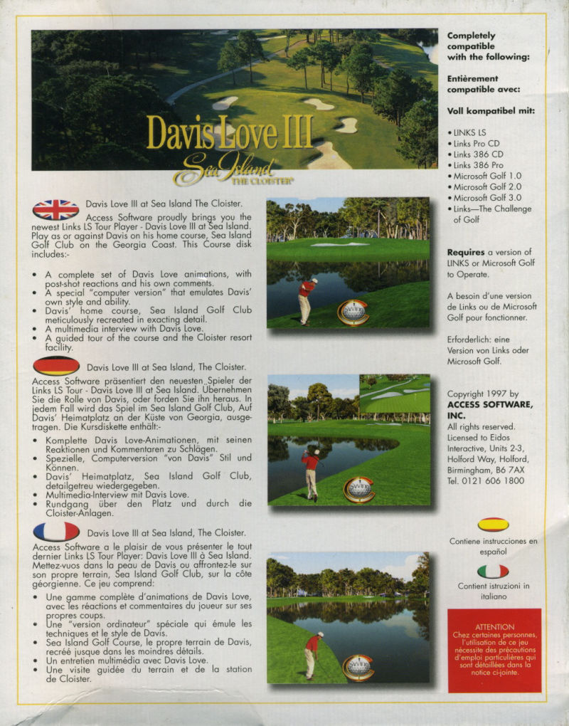 Links LS: Championship Course & Tour Player - Sea Island and Davis Love III Windows Back Cover