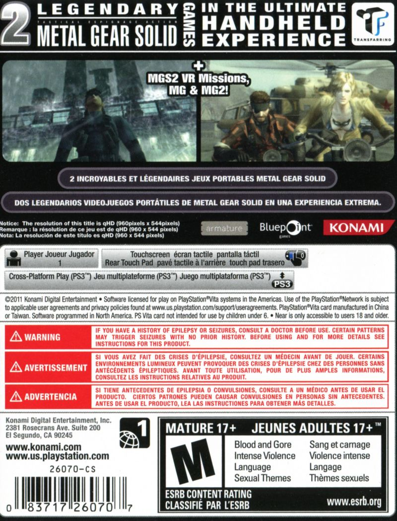 Metal Gear Solid: HD Edition PS Vita Back Cover