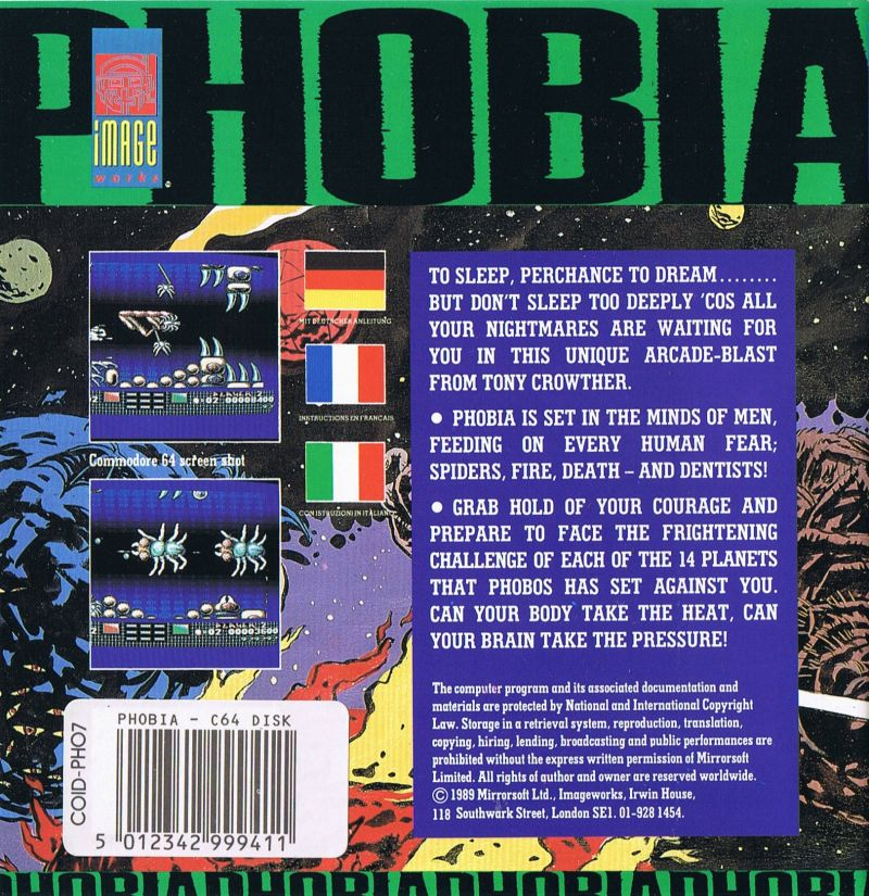 Phobia Commodore 64 Back Cover