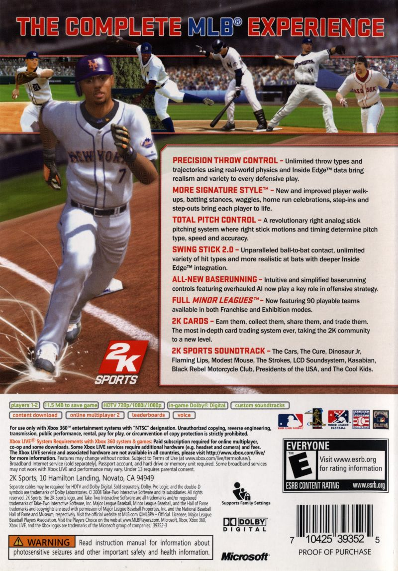 Major League Baseball 2K8 Xbox 360 Back Cover
