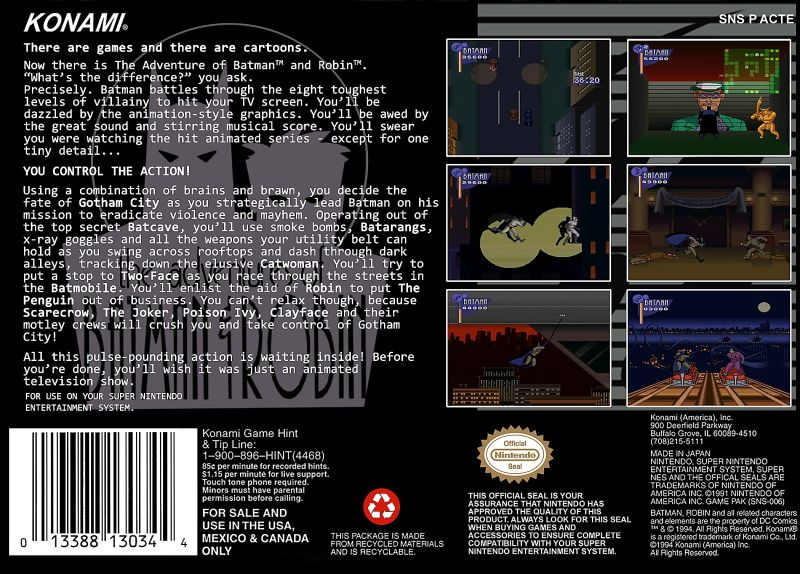 The Adventures of Batman & Robin SNES Back Cover