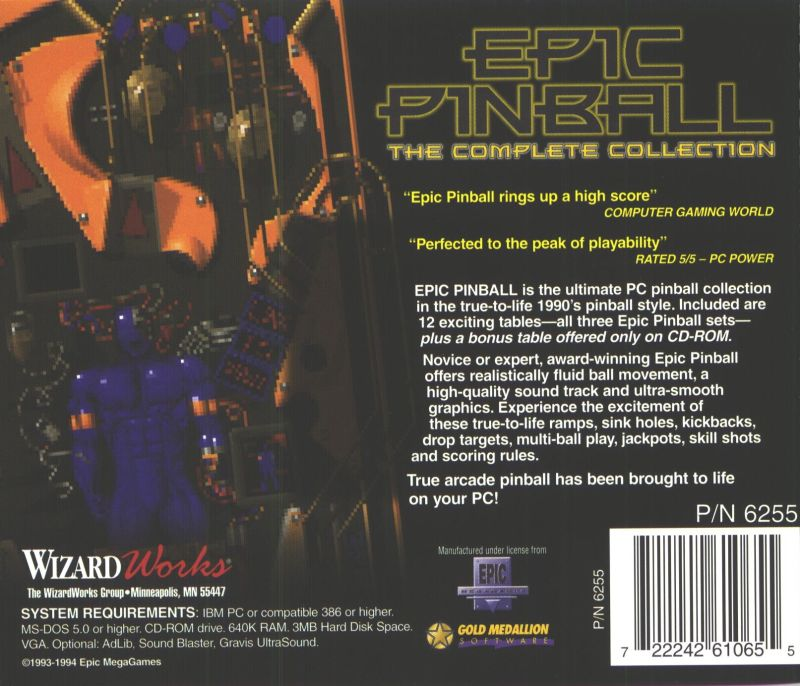 Epic Pinball: The Complete Collection DOS Back Cover