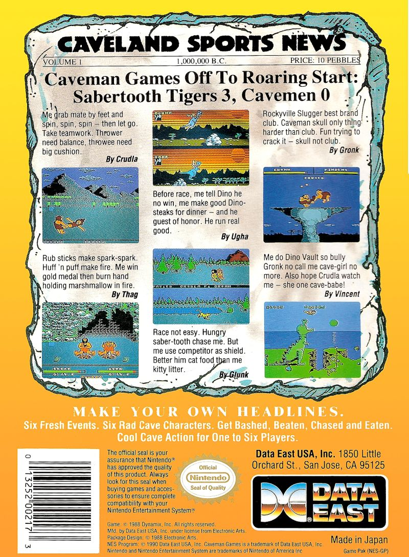 Caveman Ugh-Lympics NES Back Cover