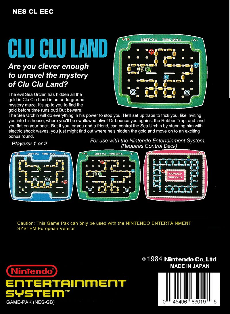Clu Clu Land NES Back Cover