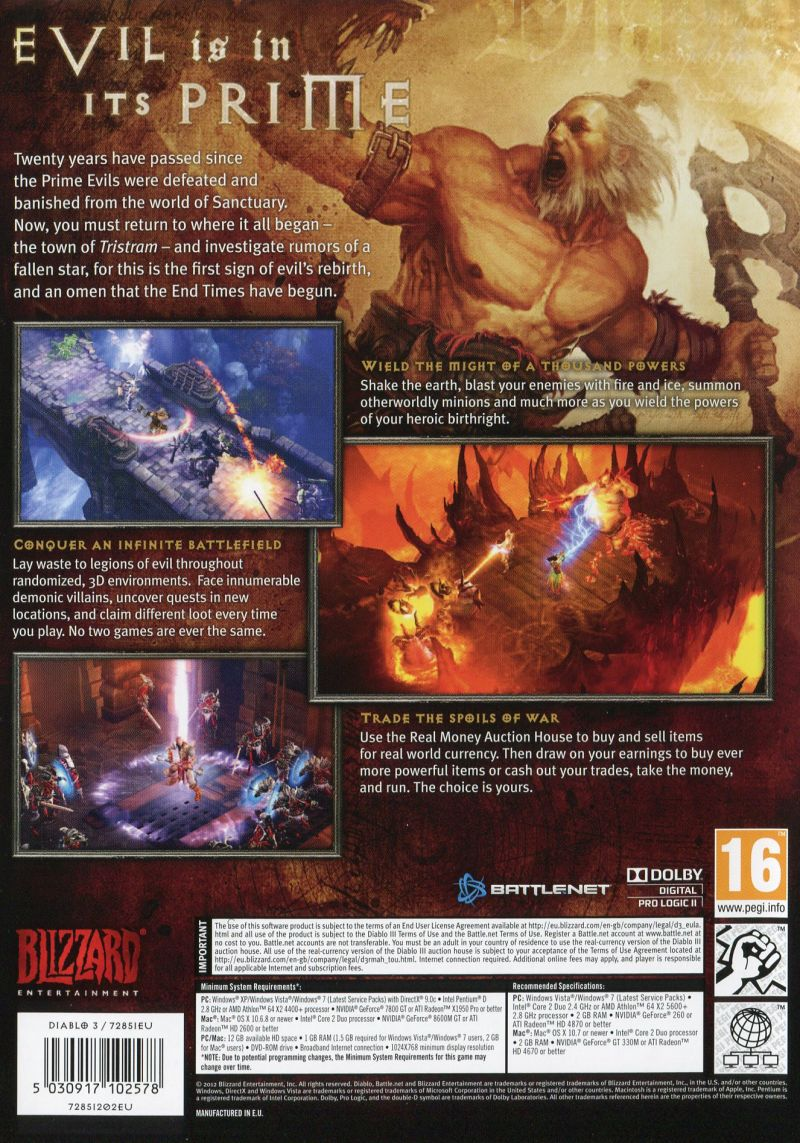 Diablo III Macintosh Other Keep Case - Back Cover