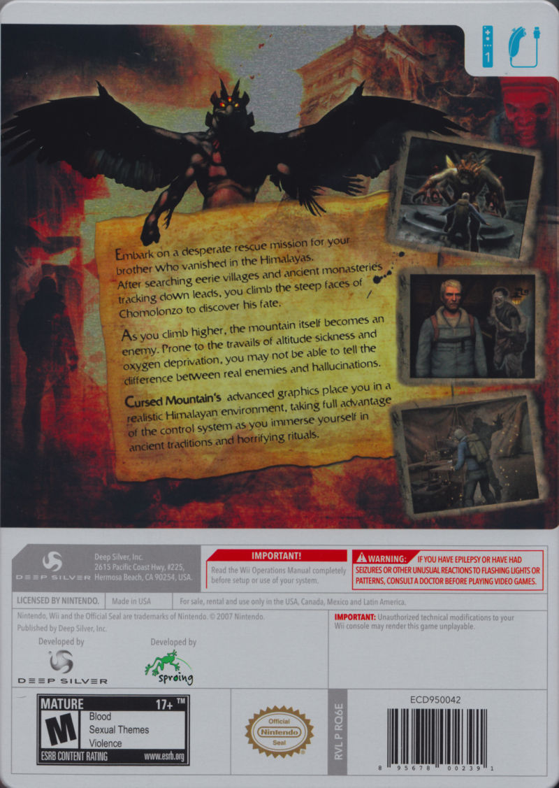 Cursed Mountain (Limited Edition) Wii Back Cover