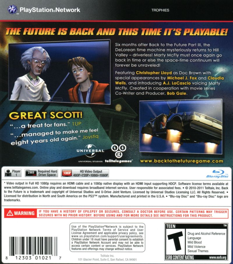 Back to the Future: The Game (2011) PlayStation 3 box cover art