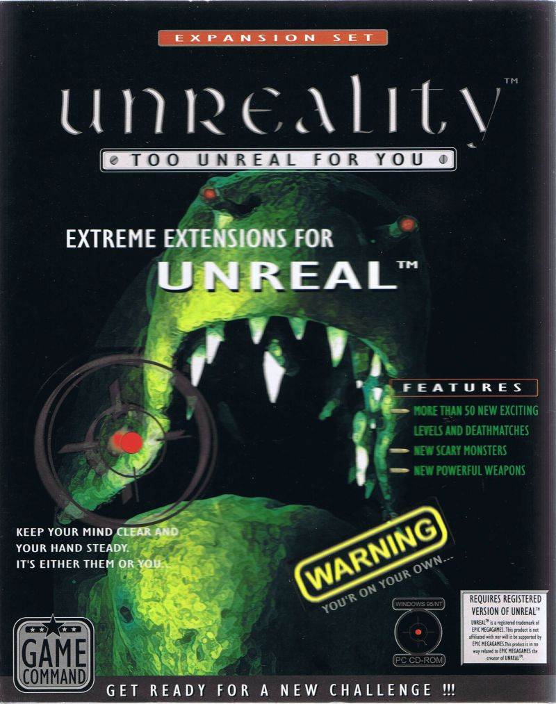 Unreality: Too Unreal for You Windows Front Cover
