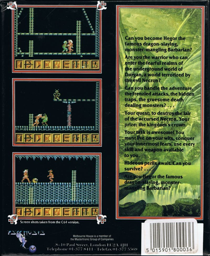 Barbarian DOS Back Cover