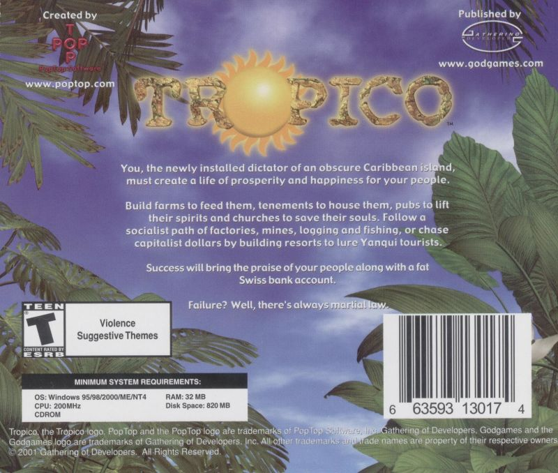 Tropico Windows Other Jewel Case - Back