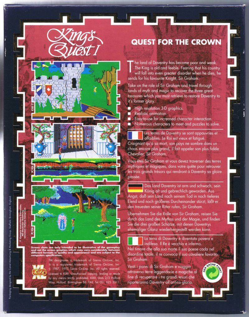 Roberta Williams' King's Quest I: Quest for the Crown Amiga Back Cover
