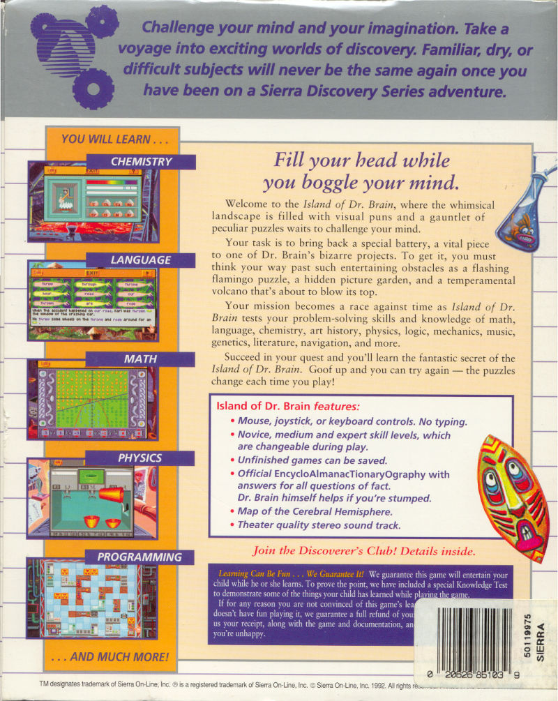 The Island of Dr. Brain DOS Back Cover