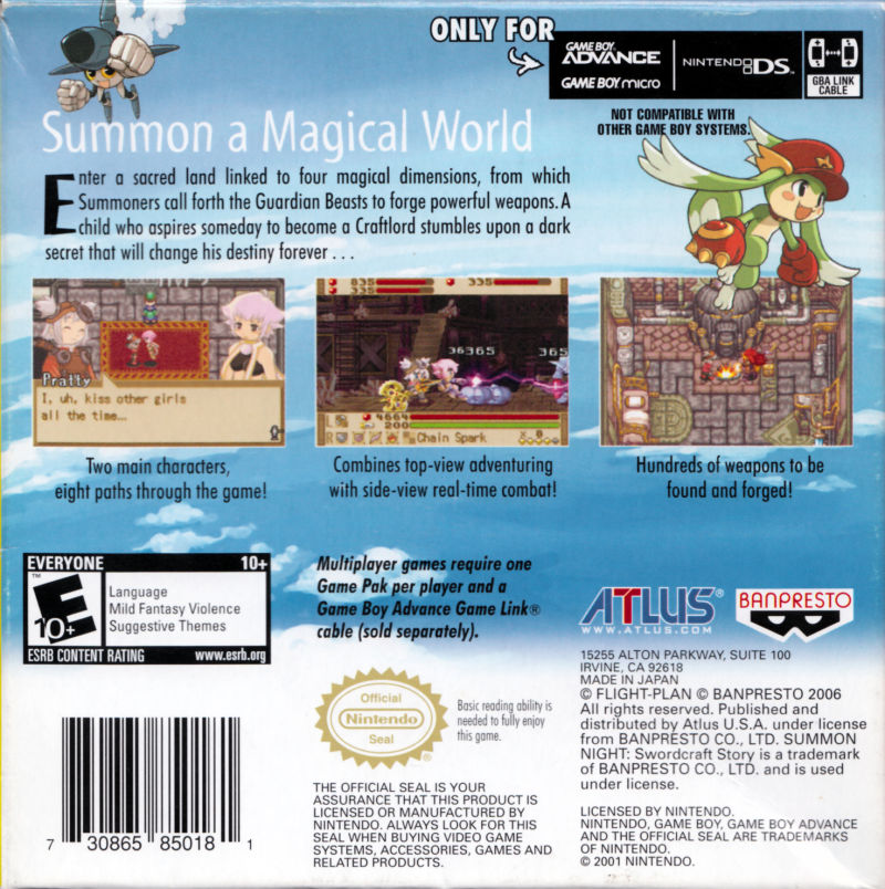 Summon Night: Swordcraft Story Game Boy Advance Back Cover