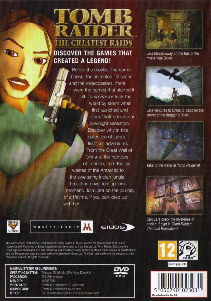 Tomb Raider: The Greatest Raids Windows Back Cover