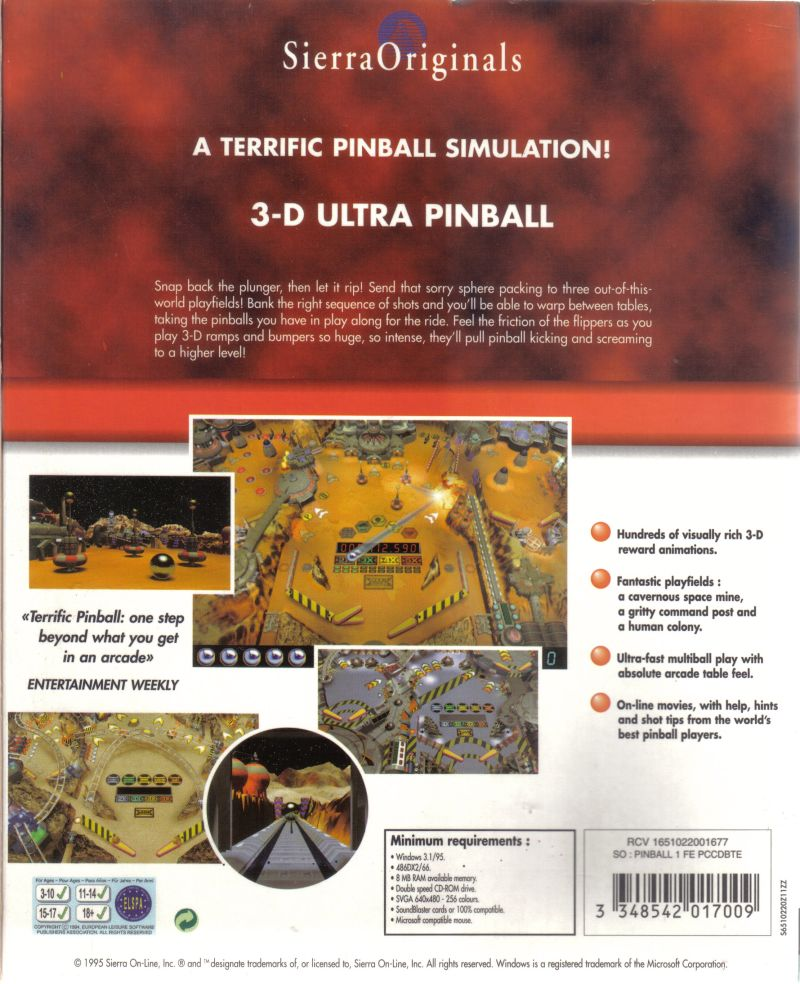 3-D Ultra Pinball Windows Back Cover