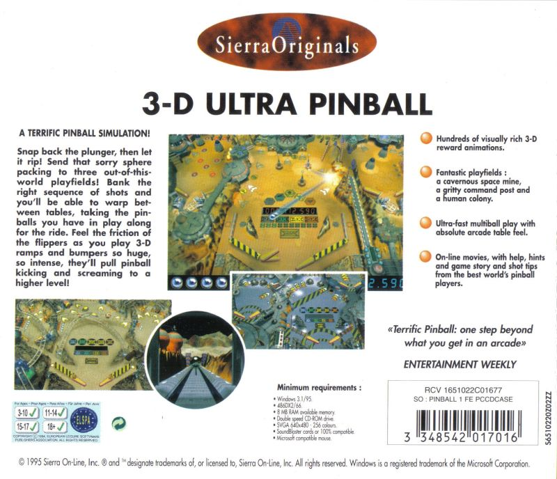 3-D Ultra Pinball Windows Other Jewel Case: Back