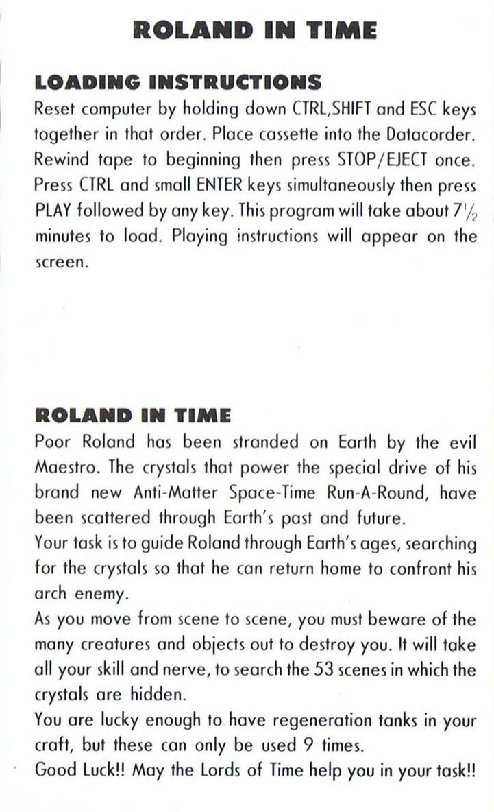 Roland in Time Amstrad CPC Inside Cover