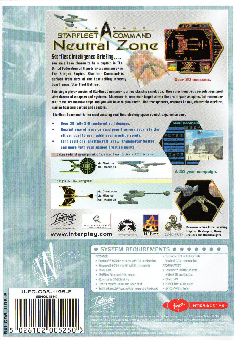 Star Trek: Starfleet Command - Neutral Zone Windows Back Cover