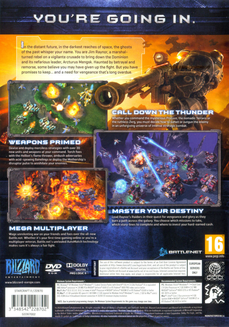 StarCraft II: Wings of Liberty Macintosh Other Keep Case - Back